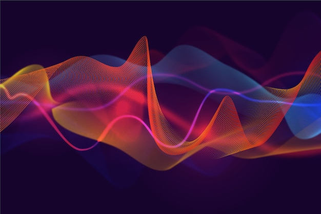 Curvy background layers of sound waves Free Vector
