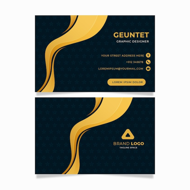 Curvy golden line business identity cards template Premium Vector