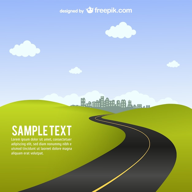 Curvy road to the city Free Vector