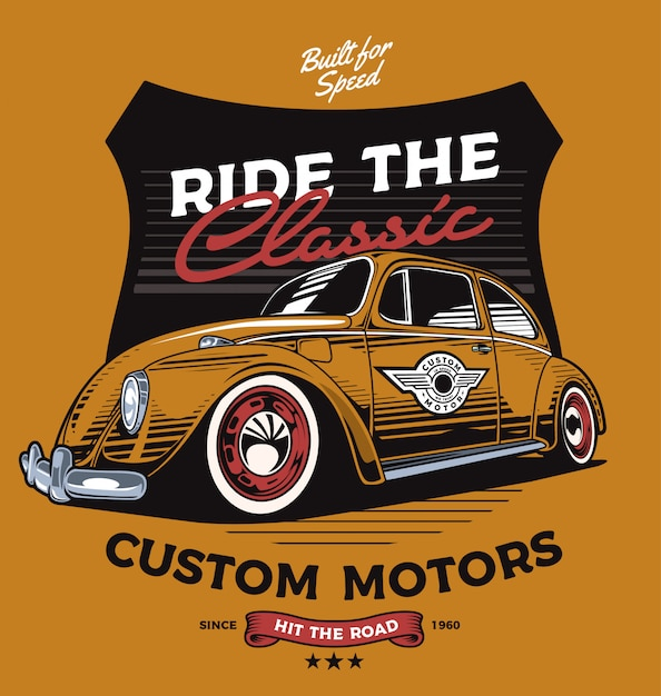 Custom beetle Premium Vector
