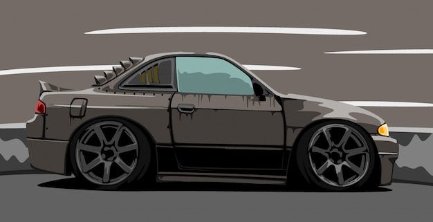 Custom black car Premium Vector