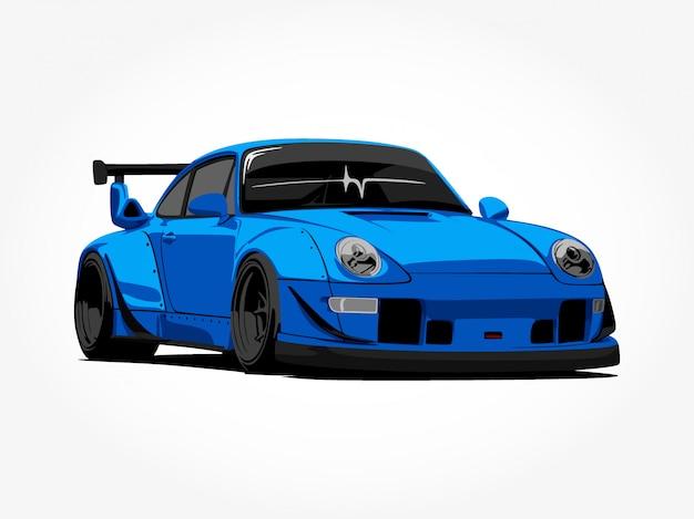 Custom blue car Premium Vector