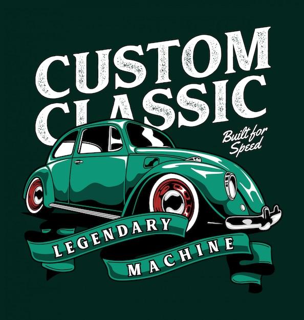 Custom classic beetle Premium Vector