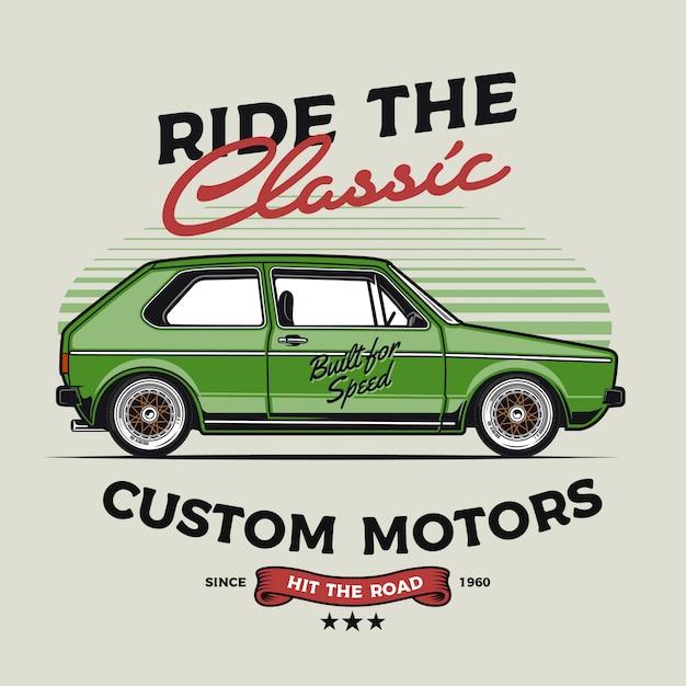 Custom classic car Premium векторы