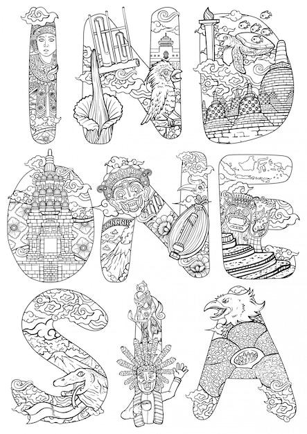 Пользовательский шрифт надписи удивительная культура индонезии с каракули стиль контура иллюстрации Premium векторы