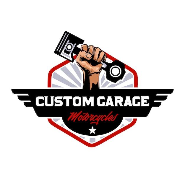 Изготовленный на заказ логотип мотоциклов гаража Premium векторы