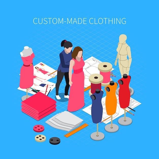 Custom made clothing isometric illustration with dress symbols Free Vector