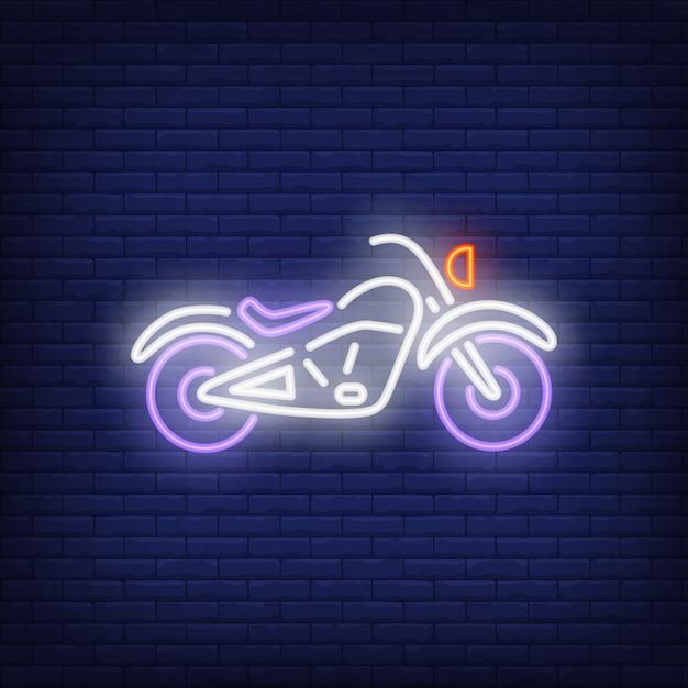 Custom motorcycle on brick background. neon style illustration. Free Vector