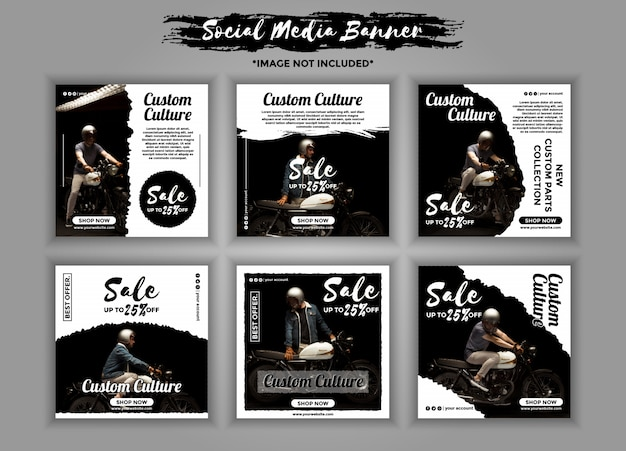 Custom motorcycle social media banner template pack Premium Vector