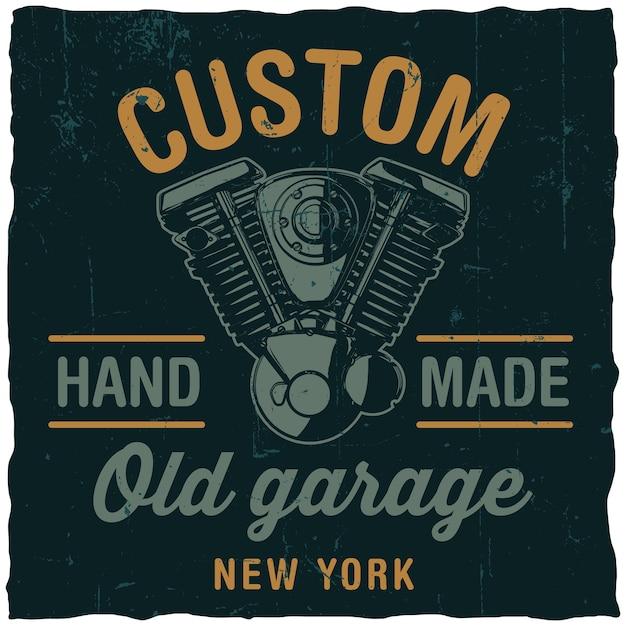 Poster di garage vecchio personalizzato con motore motociclistico disegnato a mano sul nero Vettore gratuito