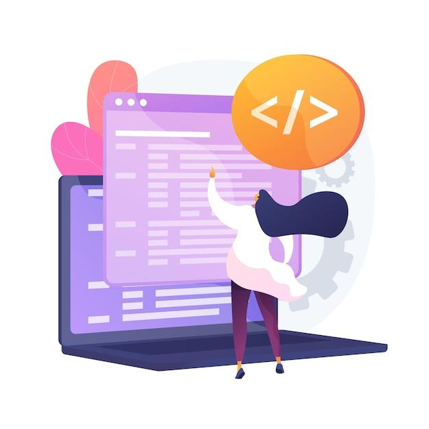 カスタムスタイルのスクリプト。ウェブサイトの最適化、コーディング、ソフトウェア開発。 javascript、cssコードを追加して、働く女性プログラマーの漫画のキャラクター。ベクトル分離概念比喩イラスト 無料ベクター