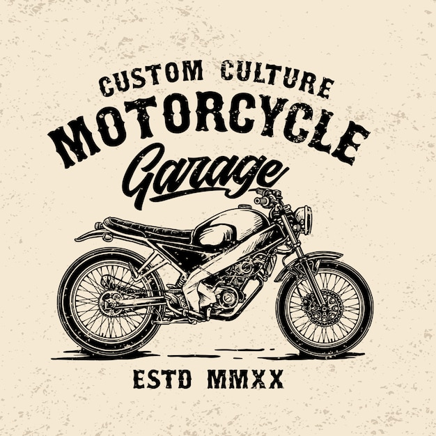 Custom vintage motorcycle garage logo template Premium Vector
