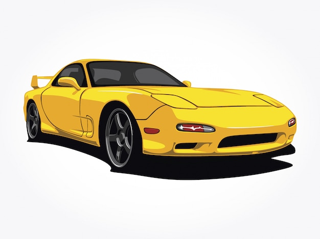 Custom yellow car  illustration Premium Vector
