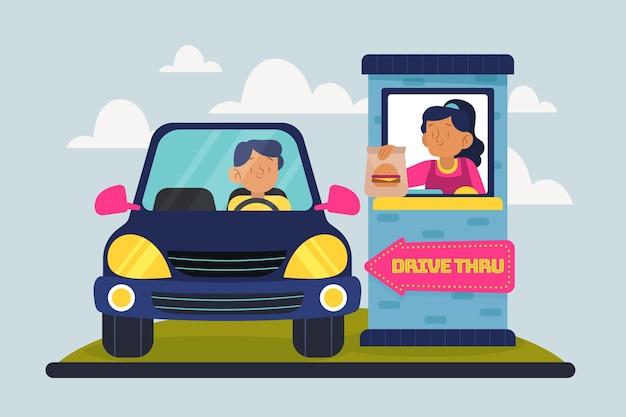 顧客とクライアントのドライブスルー 無料ベクター