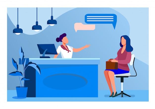 Клиент и менеджер разговаривают на стойке регистрации Бесплатные векторы