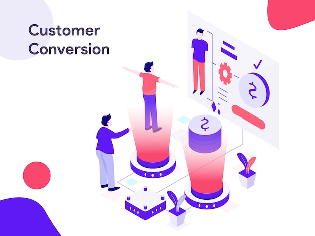 Customer conversion isometric illustration Premium Vector