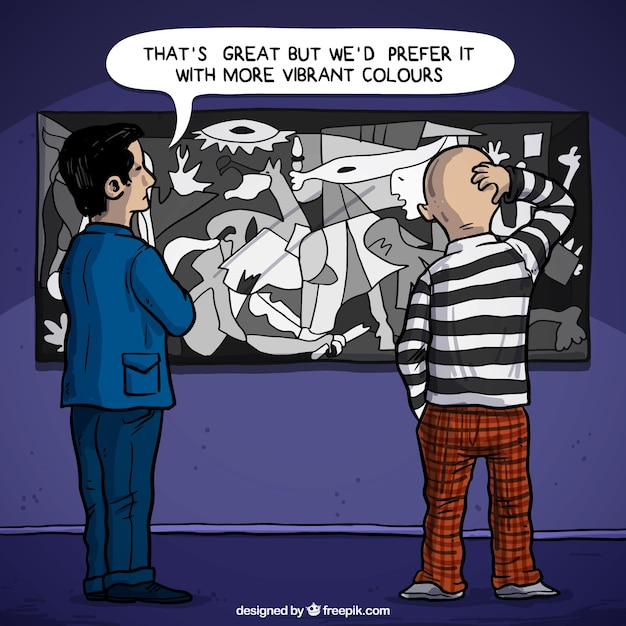 Customer criticizing guernica by picasso Free Vector
