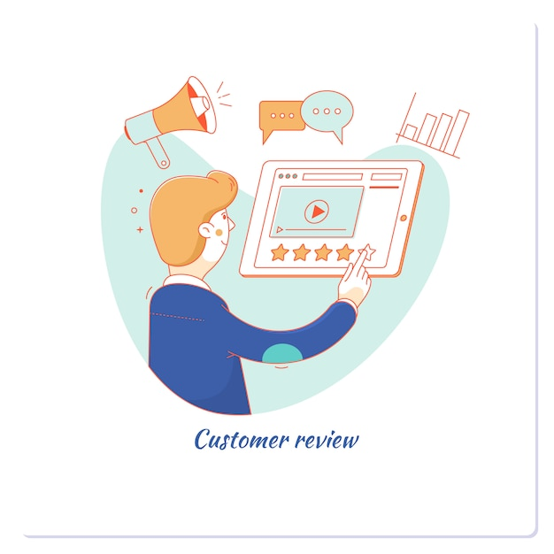 Customer experience and online review concept Premium Vector