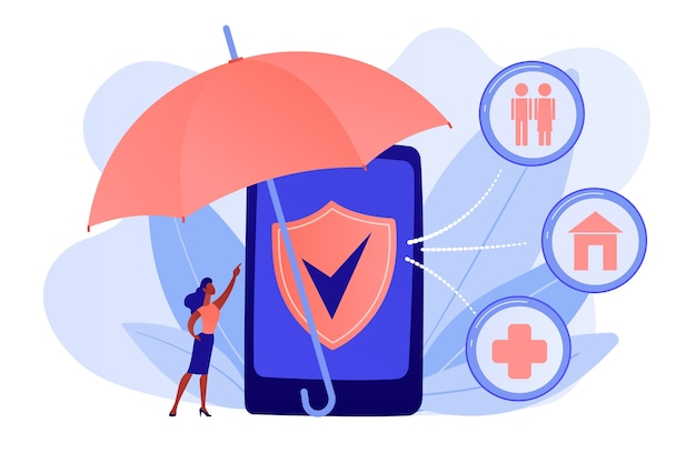 Customer getting insurance coverage and protection using smartphone. on-demand insurance, online policy, personalized isurance service concept. pinkish coral bluevector isolated illustration Free Vector