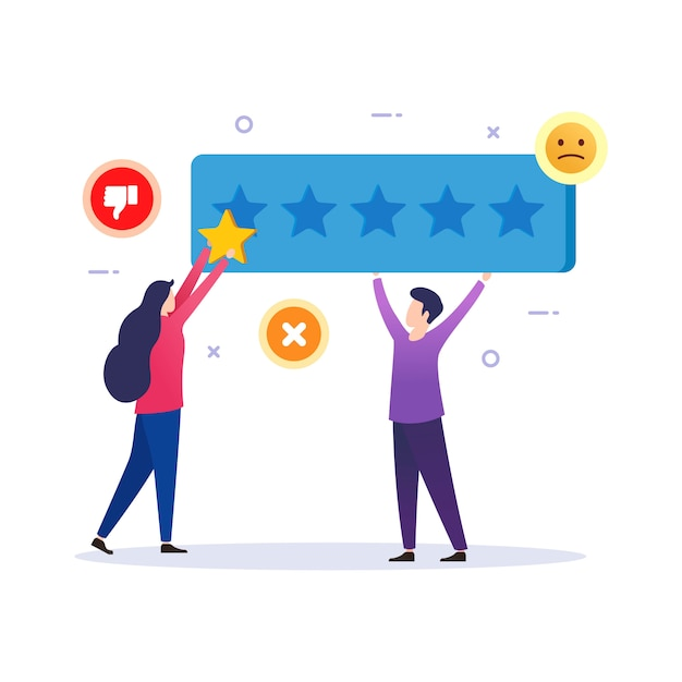 Customer give vote bad feedback review results Premium Vector
