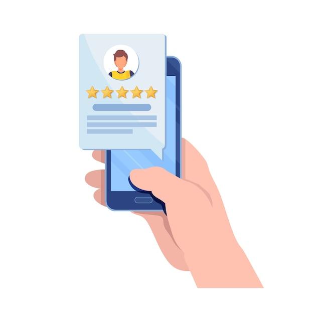 Customer giving five star rating via smartphone application. Premium Vector