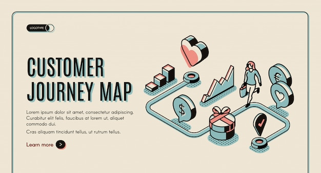 Customer journey map banner Free Vector