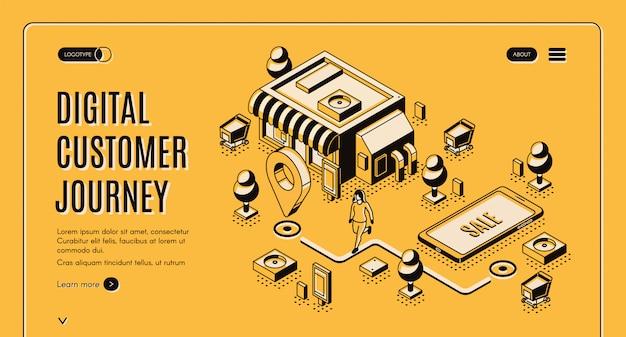 Customer journey map isometric banner Free Vector