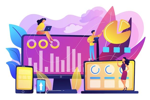 Менеджеры по работе с клиентами работают с круговыми диаграммами и устройствами клиентов. сегментация клиентов, инструмент интернет-маркетинга, концепция сбора целевой аудитории. яркие яркие фиолетовые изолированные иллюстрации Бесплатные векторы