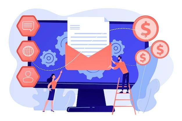 自動化されたマーケティングメッセージを受け取る顧客、小さな人々。マーケティング自動化システム、自動広告メッセージ、マーケティングダッシュボードの概念図 無料ベクター