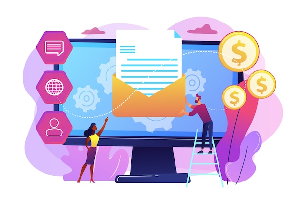 Customer receiving automated marketing message, tiny people. marketing automation system, automated advertise message, marketing dashboard concept. Free Vector