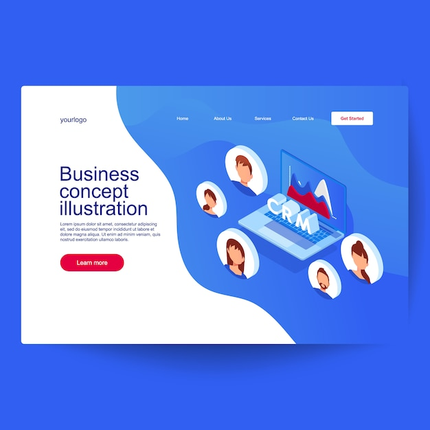Customer relationship management concept. idea of business and technology. Premium Vector