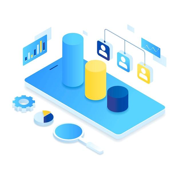 顧客関係管理等角図の概念。 Premiumベクター