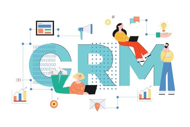 顧客関係管理システム。 crmコンセプトビジネスベクトルイラスト人とフラットスタイルの分析、サービス、技術のアイコン。 Premiumベクター