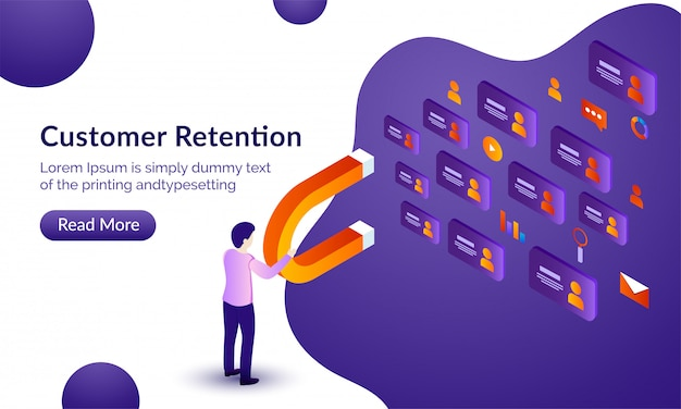 Customer retention background. Premium Vector