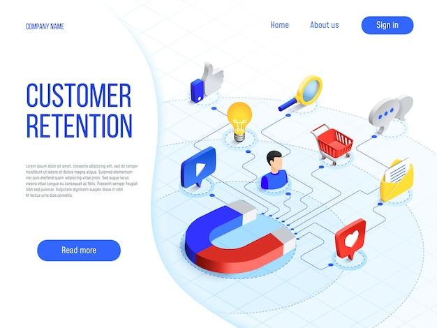 Customer retention. business marketing, branding attract customers and enhances buyer loyalty. attractive brand vector concept Premium Vector