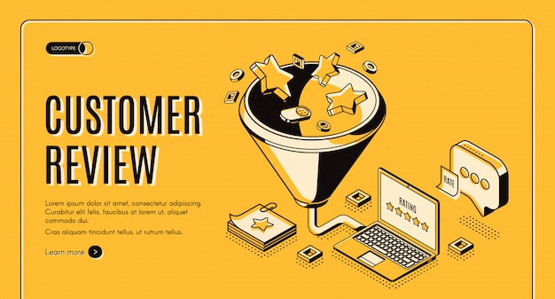Customer review best result isometric landing page Free Vector