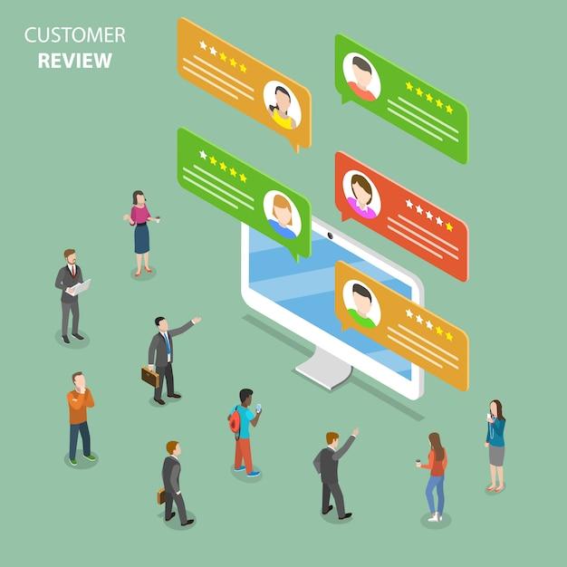 Customer review flat isometric  concept. Premium Vector