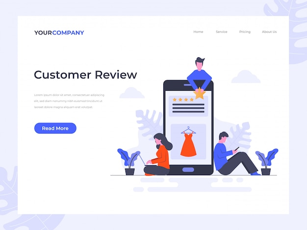 Customer review  landing page Premium Vector