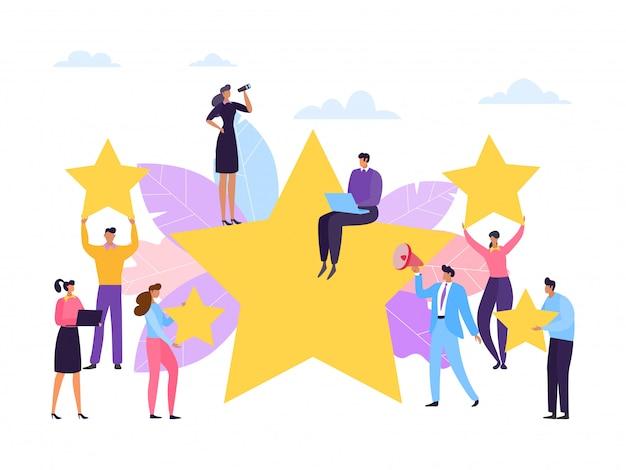 Premium Vector | Customer review, service rate stars concept, illustration.  people feedback, business satisfaction for good service quality