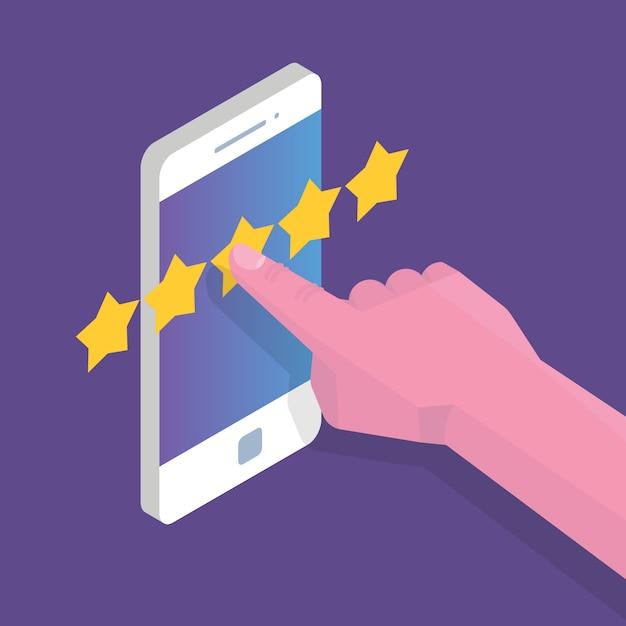 Обзор клиентов, оценка юзабилити, обратная связь, изометрическая концепция системы рейтинга. векторная иллюстрация Premium векторы