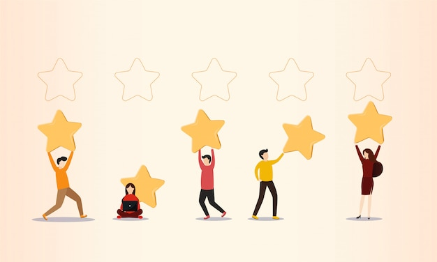 Customer reviews, people holding stars Premium Vector