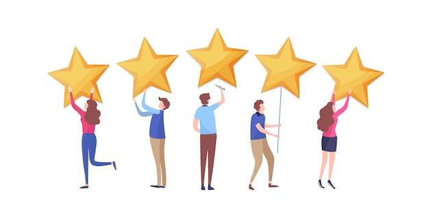 Customer's giving five star rating. Premium Vector