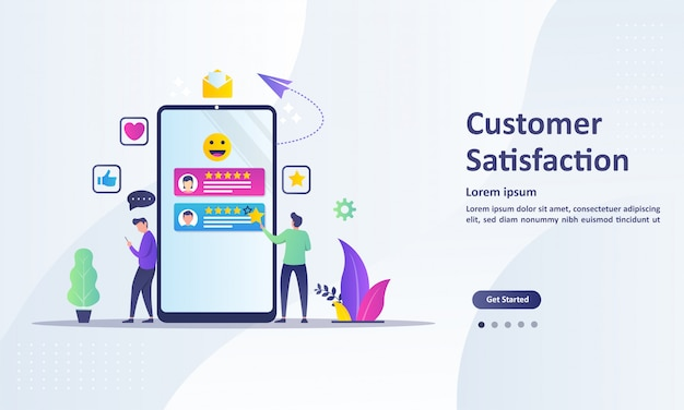 Customer satisfaction concept design, people give vote review results Premium Vector