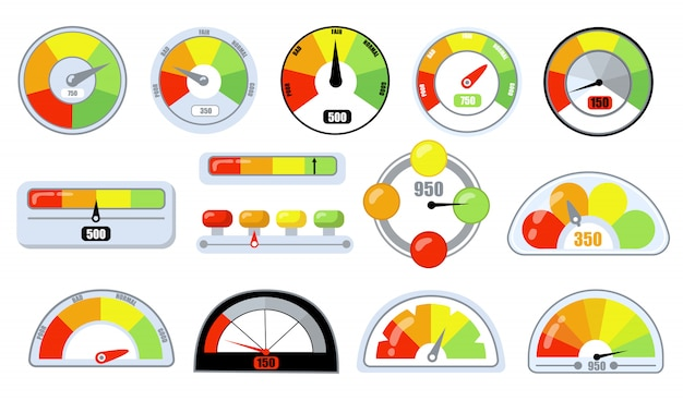 Customer satisfaction indicators with poor and good levels Free Vector