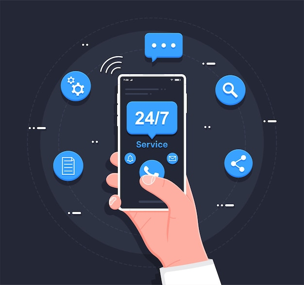 Customer service 247 service concept or call center in flat illustration