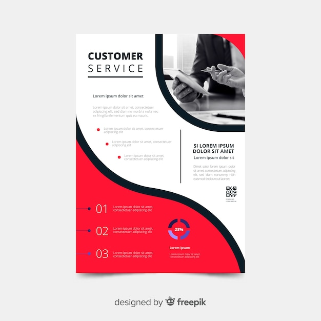 Customer service business flyer template Free Vector