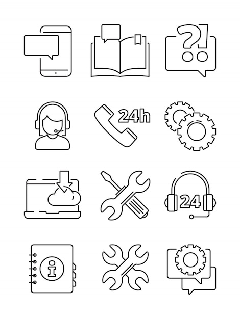 Customer service help icon. office web or online and telephone support center admin linear symbols isolated Premium Vector