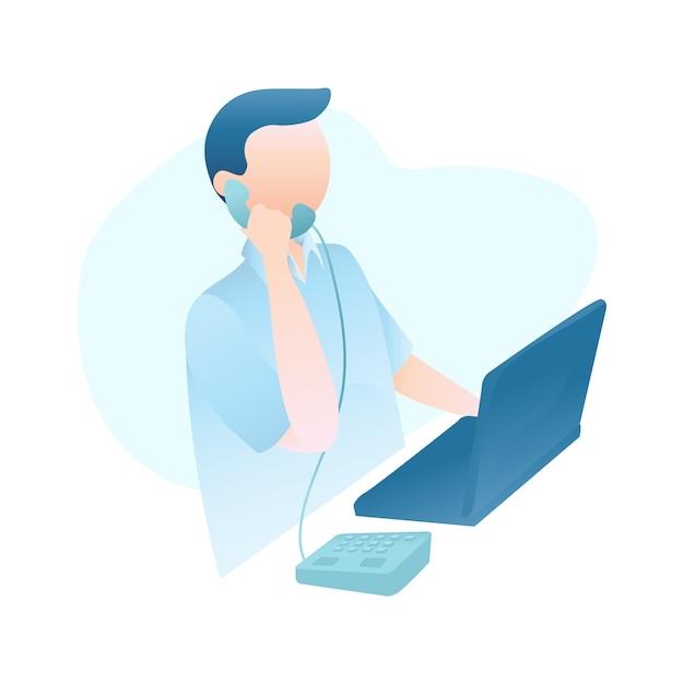 Customer service illustration with man speaking on telephone serves costumers Premium Vector
