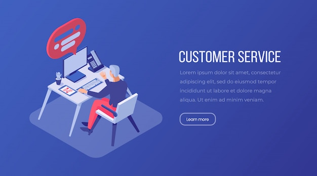 Customer service isometric landing page template. Premium Vector