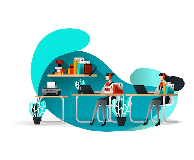 Customer service office with flat illustration style Premium Vector
